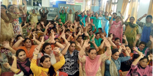 Female Multipurpose Health Workers staging protest in Jammu.