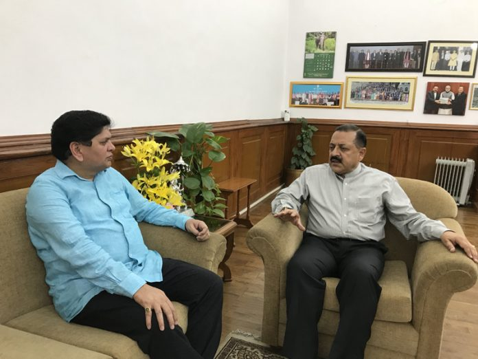 SOS Intl chairman Rajiv Chuni discussing issues of PoK DPs with Union MoS in PMO, Dr Jitendra Singh at Delhi.