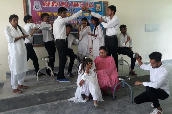 Students participating in theatre workshop at Govt. Degree College Reasi on Monday.