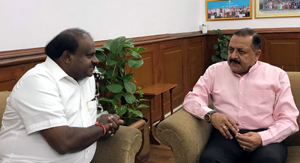Karnataka Chief Minister H.D. Kumaraswamy calling on Union Minister Dr. Jitendra Singh at New Delhi on Thursday.