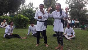 Artists performing Nukad Natak in Jammu on Thursday.