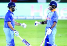 Skipper Rohit Sharma and Shikhar Dhawan celebrating during their huge partnership in Asia Cup.