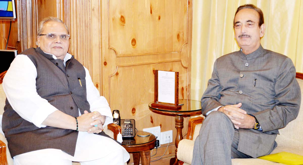 Congress leader Ghulam Nabi Azad in a meeting with Governor Satya Pal Malik in Srinagar on Tuesday.