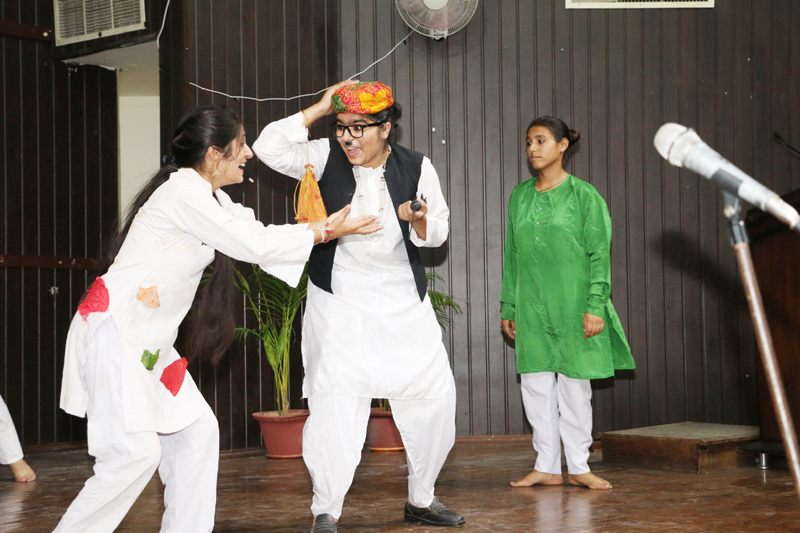 Students during One Act Play during Display Your Talent at Jammu University on Wednesday.