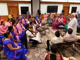 Prime Minister, Narendra Modi interacting with the ASHA representatives from across the country, in New Delhi on Thursday.