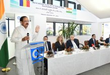 Vice President, M. Venkaiah Naidu addressing the Prahova Chamber of Commerce & Industries, in Ploiesti, Romania on Thursday.