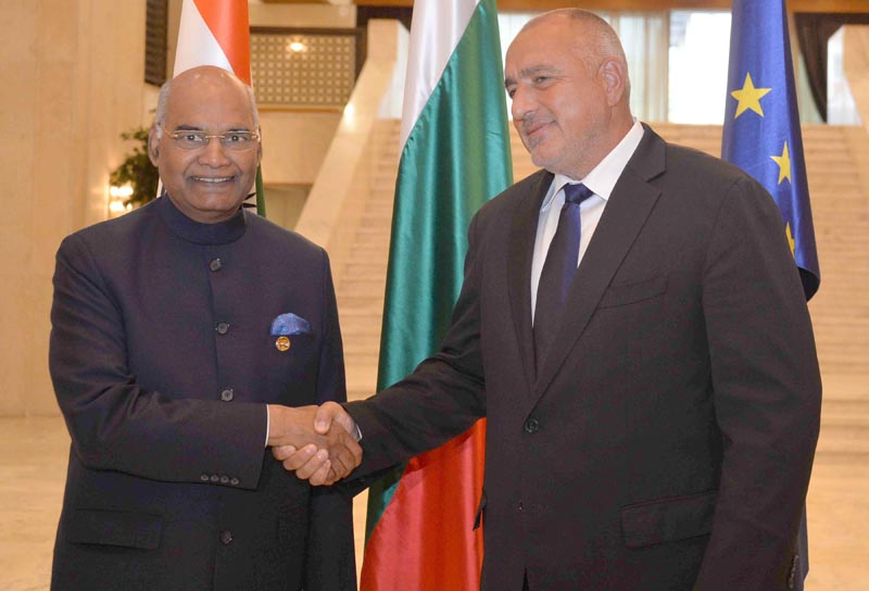 President Ram Nath Kovind meeting with Boyko Borissov, Prime Minister of the Republic of Bulgaria at Boyana Residence at The People Republic of Bulgaria, Sofia on Thursday. (UNI)