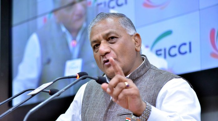 Minister of State for External Affairs Gen (Retd) V K Singh, addressing the 'Smart Border Management 2018' conference organised by FICCI, in New Delhi on Monday. (UNI)