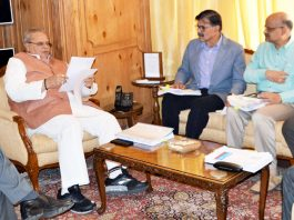 Governor Satya Pal Malik presiding over the SAC meeting in Srinagar on Tuesday.