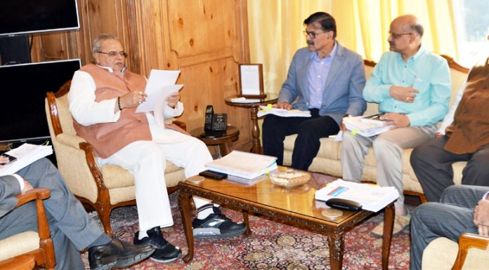 Governor Satya Pal Malik presiding over the SAC meeting in Srinagar on Tuesday.