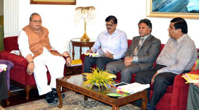 Governor Satya Pal Malik presiding over the SAC meeting in Srinagar on Wednesday.