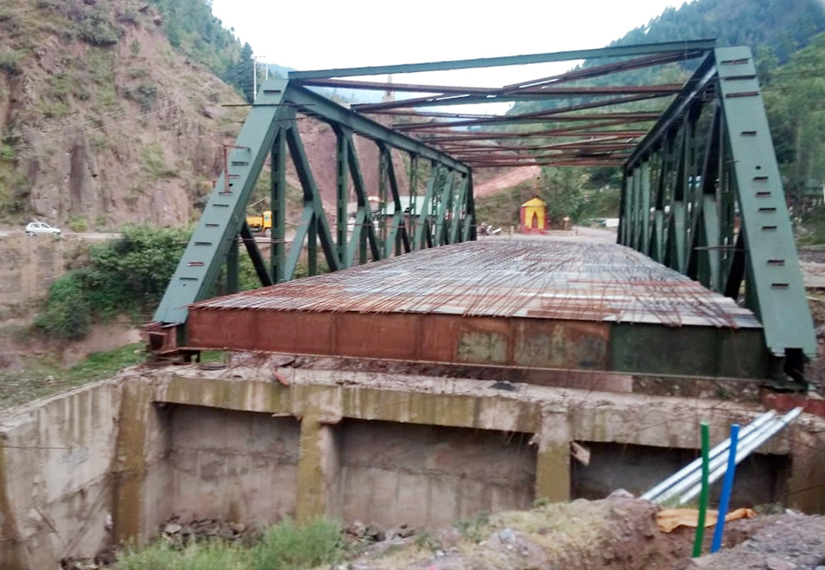 A view of incomplete NS bridge near Uri town in Baramulla district. —Excelsior/Aabid Nabi