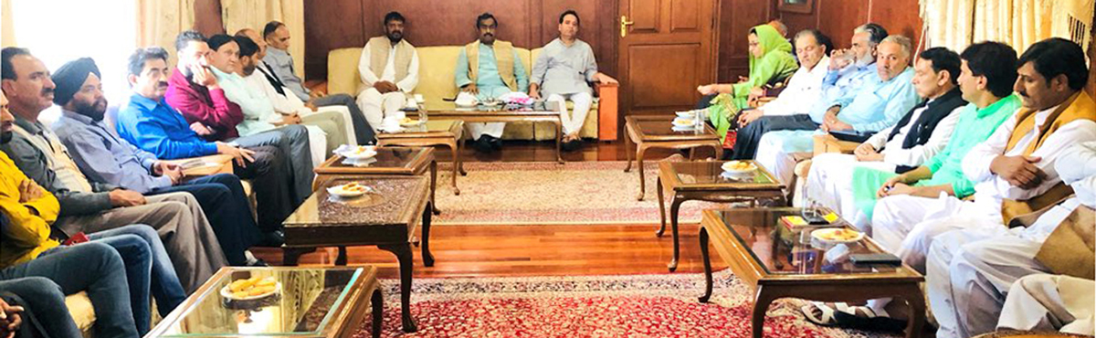 BJP leader Ram Madhav in a meeting with party leaders of Kashmir in Srinagar on Tuesday.