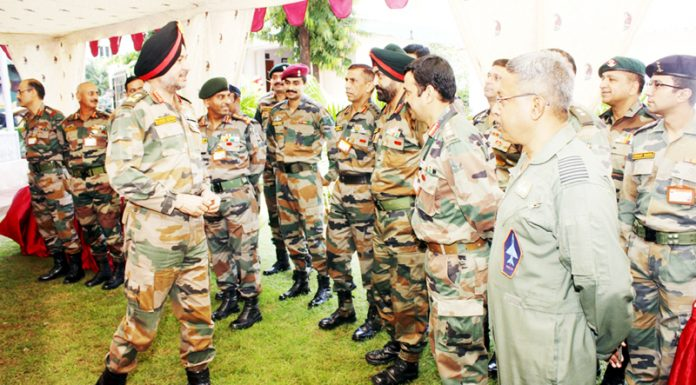 Northern Army chief Lt Gen Ranbir Singh at Nagrota Corps on Friday.