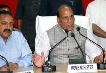 Union Home Minister Rajnath Singh speaking to reporters at BSF Headquarters at Paloura on Monday in the presence of Union MoS in PMO Dr Jitendra Singh. -Excelsior/Rakesh