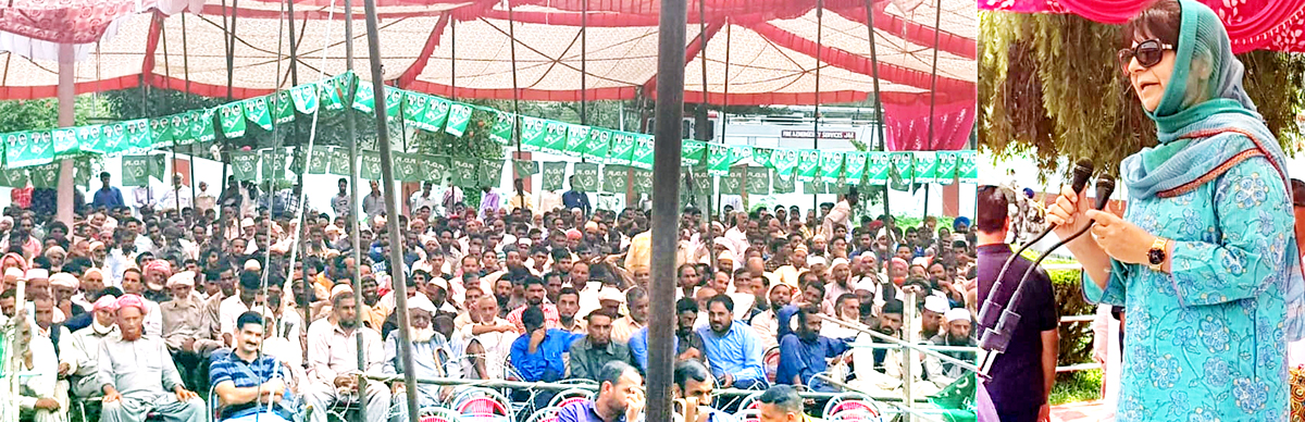 PDP president Mehbooba Mufti addressing workers' rally at Rajouri on Tuesday.