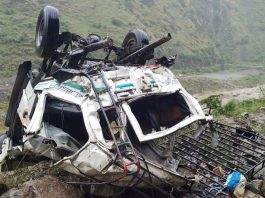 Ill-fated vehicle after accident in Doda on Saturday. —Excelsior/Rafi Choudhary