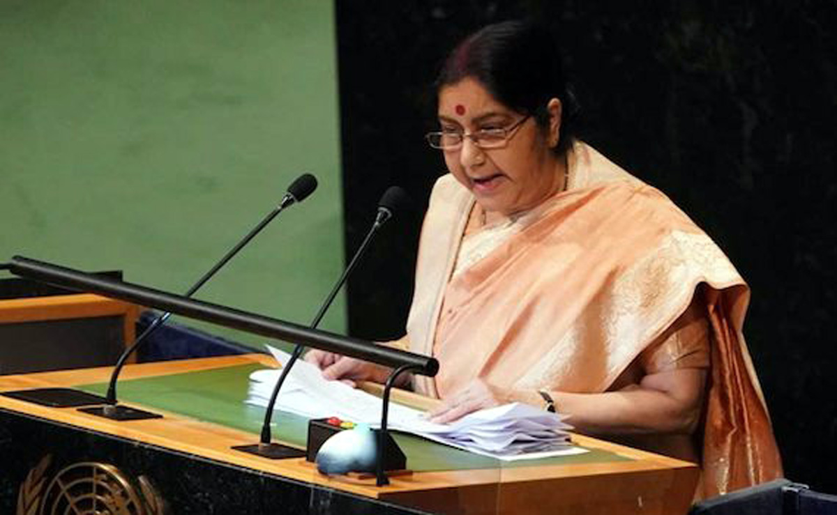 External Affairs Minister Sushma Swaraj addressing UN General Assembly on Saturday.