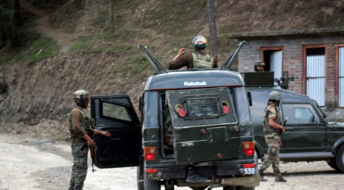 Troops during encounter in Baramulla on Wednesday. -Excelsior/Aabid Nabi