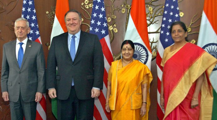 Defence Minister Nirmala Sitharaman and External Affairs Minister Sushma Swaraj along with US Secretary of Defence James Mattis (left) and US Secretary of State Michael R Pompeo (2nd Left), just before th first ever '2+2 Bilateral Dialogue' between the two countries, in New Delhi on Thursday.