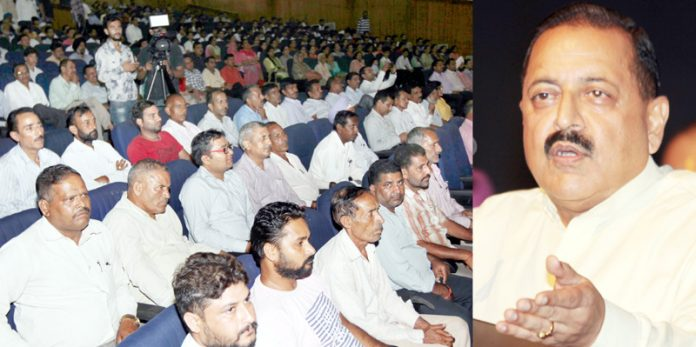 Union Minister, Dr Jitendra Singh addressing a function at Jammu University on Saturday. —Excelsior/Rakesh