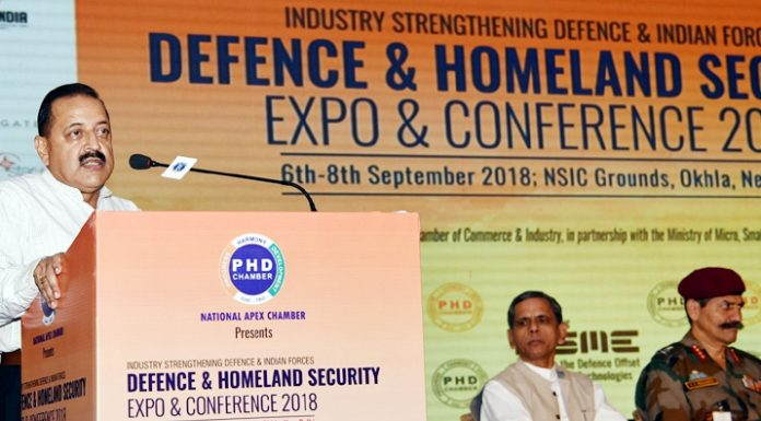 Union Minister Jitendra Singh addressing the conference on Defence & Homeland Security, at New Delhi on Saturday