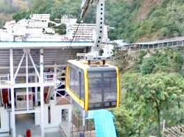 A photo of under construction ropeway project from Mata Vaishno Devi Bhawan to Bhairon Ghati. —Excelsior/Karandeep