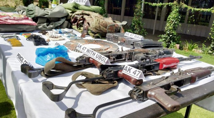 Arms and ammunition recovered from killed militants at Bandipora. —Excelsior/Aabid Nabi