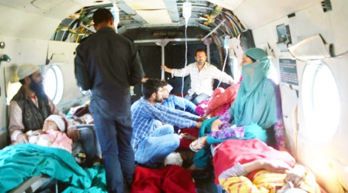 IAF helicopter evacuating injured persons from Kishtwar to Jammu.