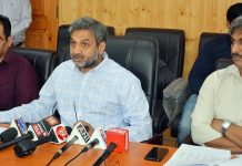 CEO Shaleen Kabra and other senior officers of the Election Commission at a press conference in Srinagar on Sunday. —Excelsior/Shakeel