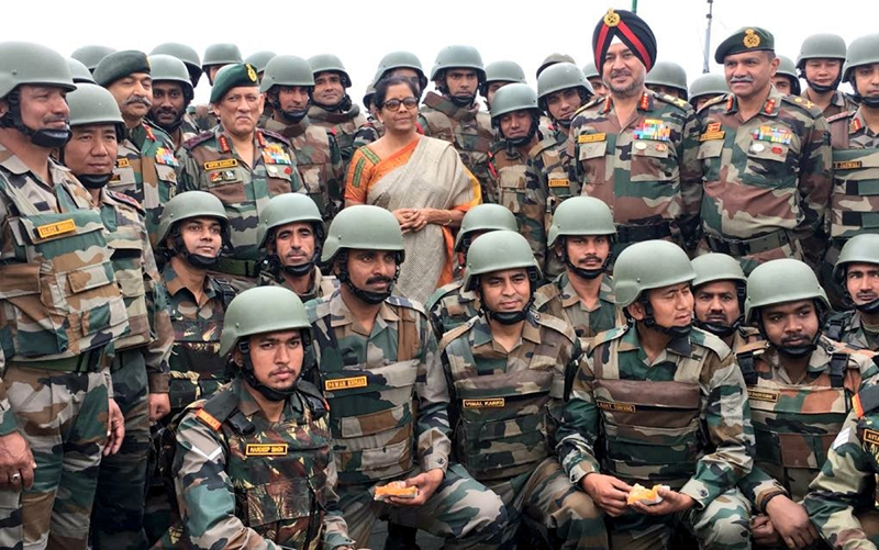 Defence Minister Nirmala Sitharaman along with Army chief General Bipin Rawat at Balbir forward post in Kashmir on Sunday.