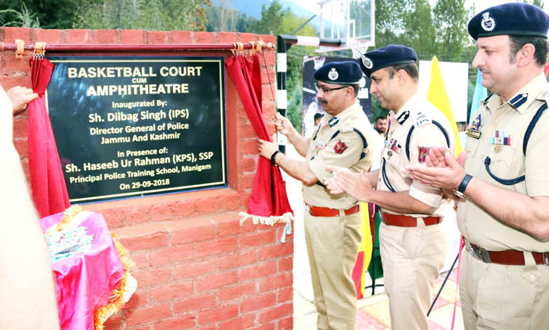 DGP Dilbag Singh inaugurating basketball court and amphi theatre at PTS Manigam.