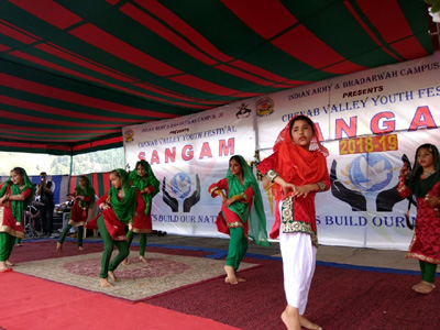 Students presenting dance item during inaugural ceremony of 'Sangam' at Bhaderwah. -Excelsior/Tilak Raj