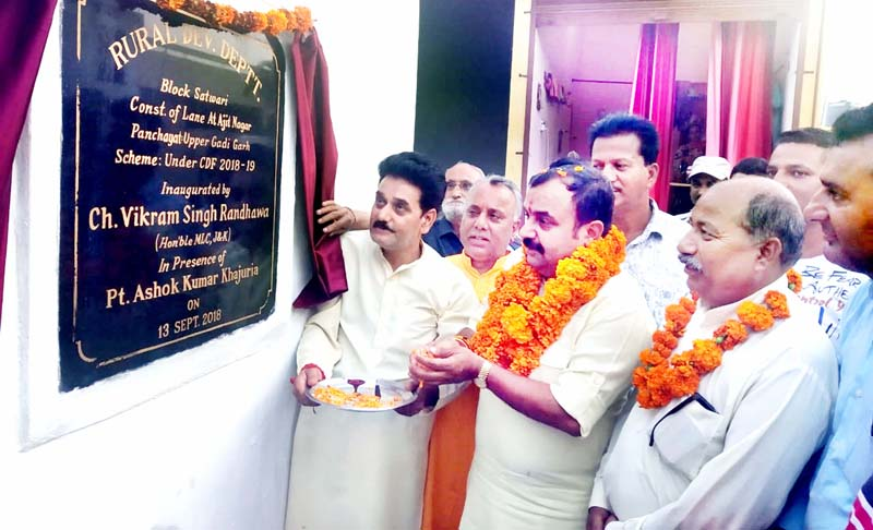 MLC Vikram Randhawa inaugurating a lane at Ajit Nagar in Jammu on Friday.