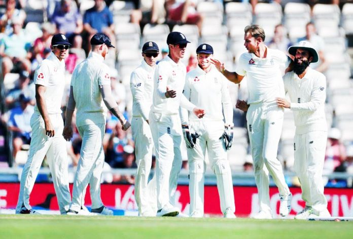 England's Stuart Broad celebrates taking the wicket of India's KL Rahul during the fourth test match at Southampton.
