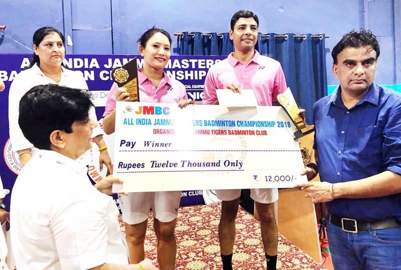 IGP Danish Rana awarding a winner of All India Jammu Masters Badminton Championship at Jammu on Sunday.