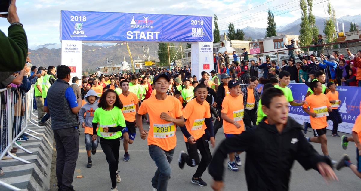 Athletes sweating-it-out during Ladakh Marathon at Leh on Sunday. -Excelsior/ Morup Stanzin