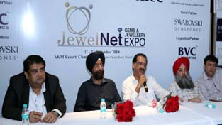 Vikas Chudasama, Founder and CEO, JewelNet Expo addressing a press conference at Chandigarh on Wednesday.