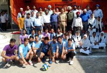 Winners of Khelo India competition posing alongwith dignitaires and officials at Mandi in Poonch.