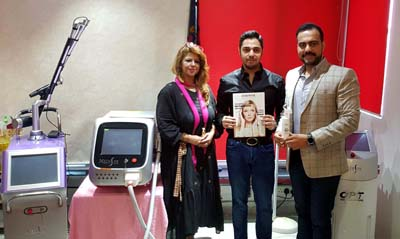 Cosmetologist, Mohit Narang, CEO, MediSpa Dermal Sciences along with others during the launch of Avant Garde Laser Machine at Jammu on Wednesday.