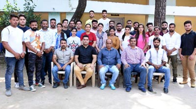 J&K Power Lifting team posing for a group photograph before leaving for Lucknow in Uttar Pradesh.