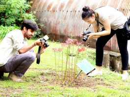 Students taking photographs during Display Your Talent competition at University of Jammu.