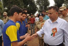 DDC Ramban interacting with players while inaugurating sports tournament under Khelo India Games.