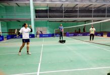 Players in action during Inter-Collegiate Badminton Tournament at University of Jammu.