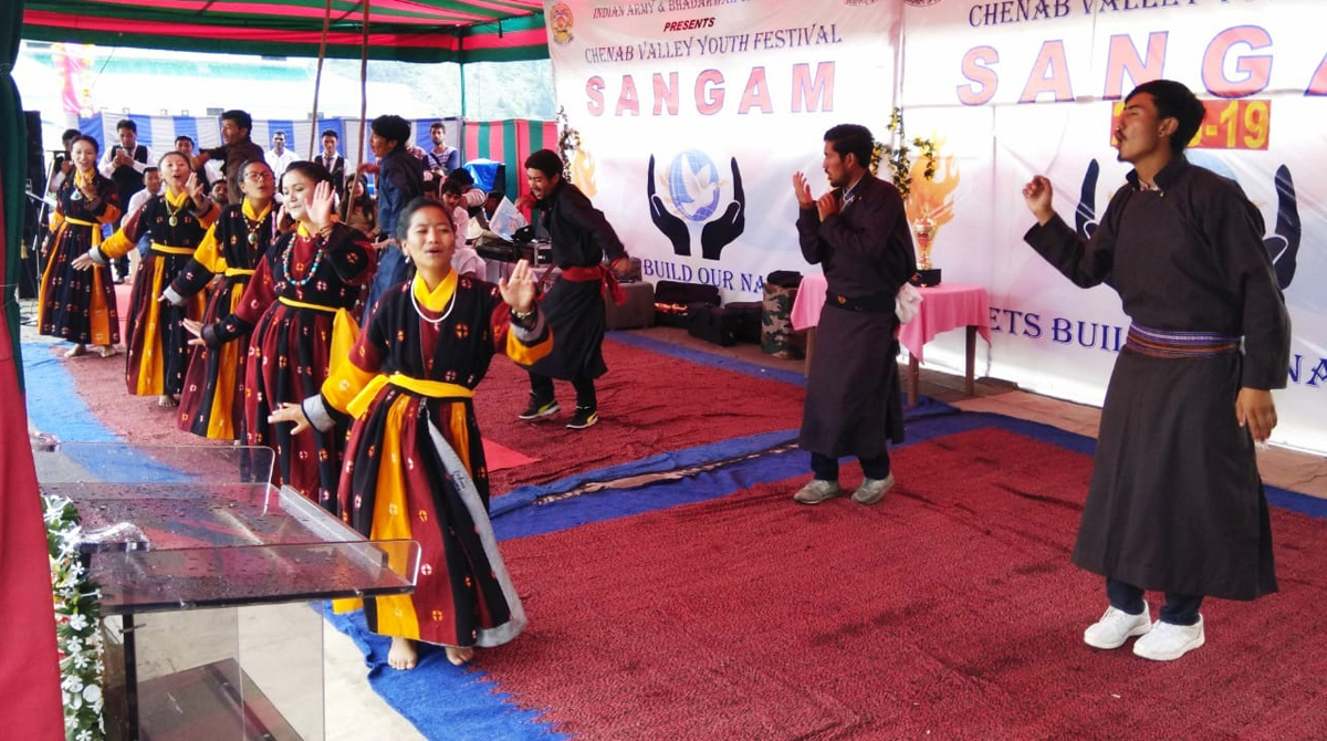 Students of Degree College Ladakh presenting mesmerising dance performance in Chenab Valley Youth Festival-2018.