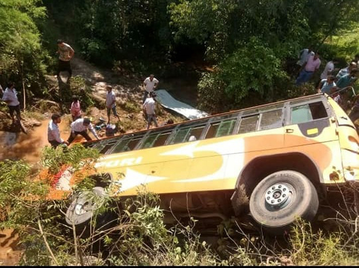 Bus falls into gorge after collision with tipper at Lamberi in Nowshera area on Tuesday.