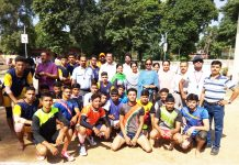 Winners of Inter-District competition posing alongwith diginatries and officials in Jammu.