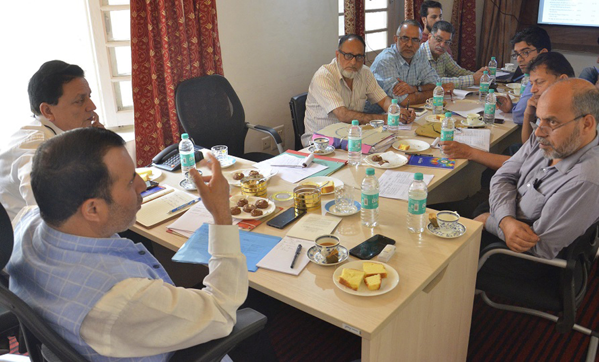 Secretary, Department of Disaster Management Farooq Ahmad Shah chairing a meeting in Srinagar.