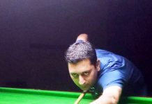 Ace cueist Sohail Khalid in action during Senior Billiards final on Wednesday.
