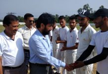 DYSSO Samba interacting with players while inaugurating Super Seven Cricket Tournament.